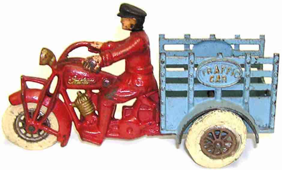 hubley gusseisen motorrad anhaenger fahrer rot blau
