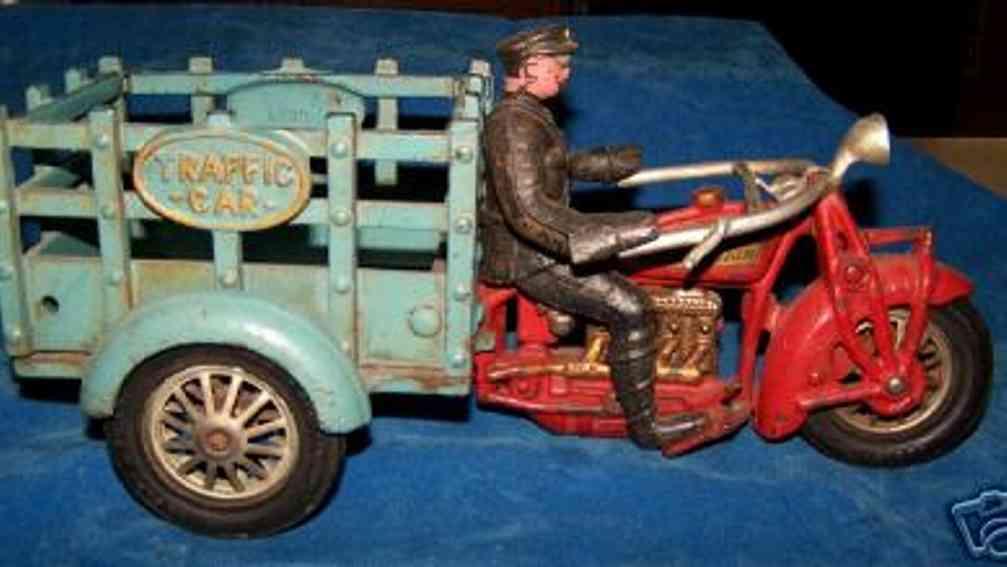 hubley 38 spielzeug gusseisen motorrad wagen polizisten rot blau