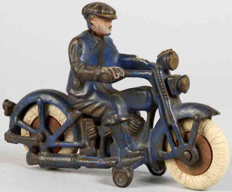 hubley spielzeug gusseisen harley motorradfarher blau