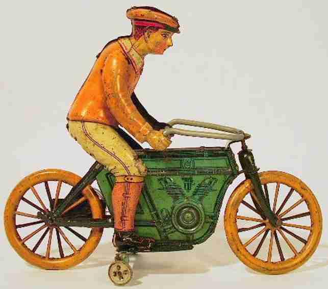 huki kienberger tin toy motorcycle driver clockwork green