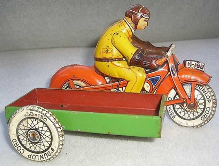 huki kienberger tin toy motorcyclist sidecar driver