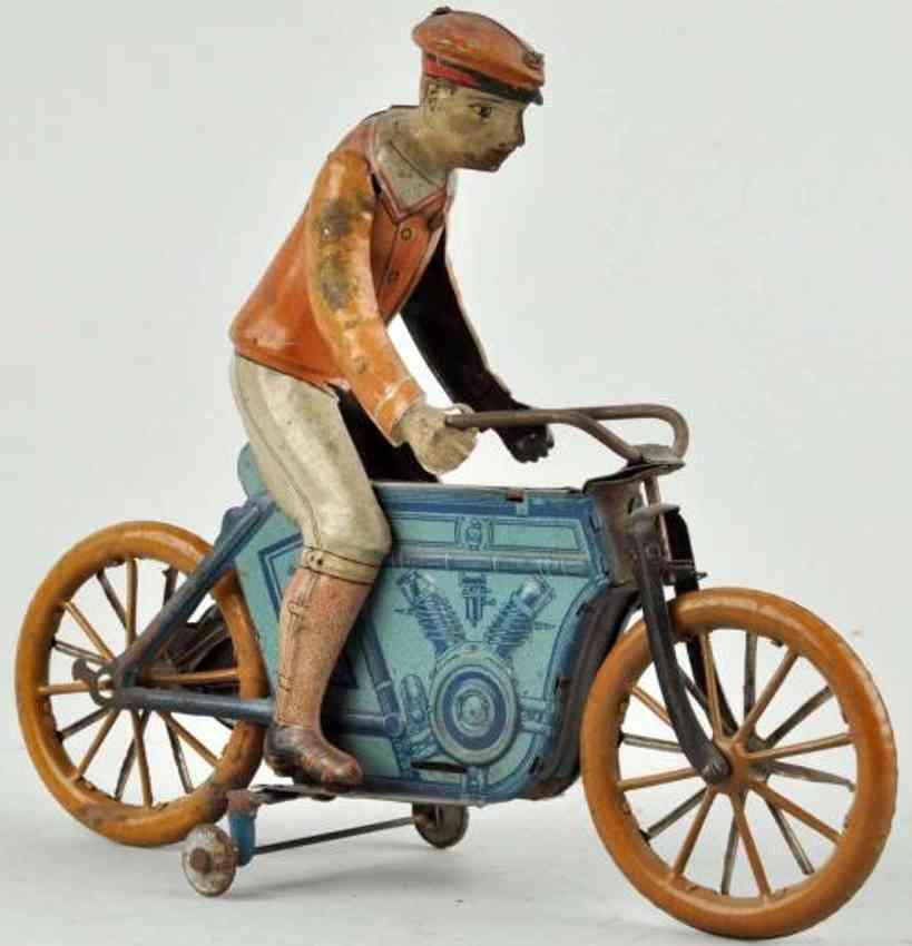 huki kienberger tin toy motorcycle driver clockwork blue