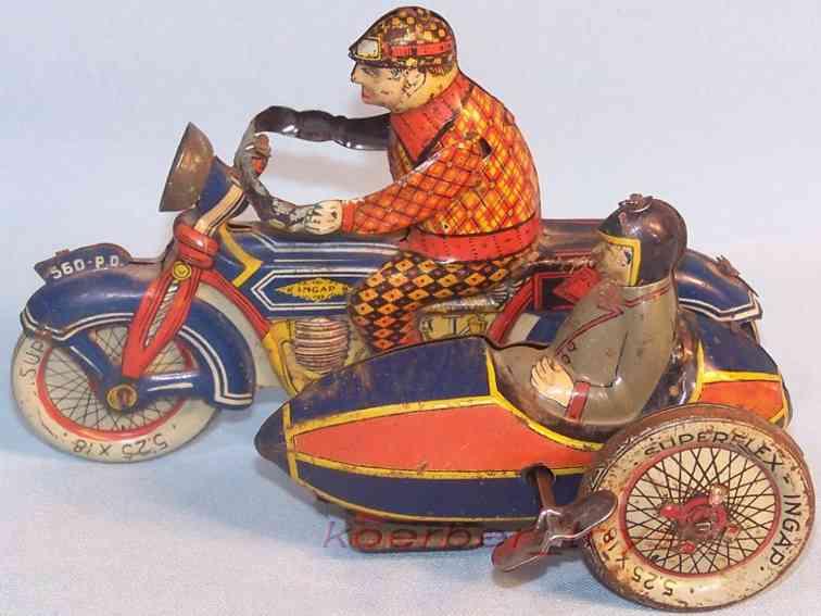 ingap 560 pd blech spielzeug motorrad mit beiwagen uhrwerk blau  rot