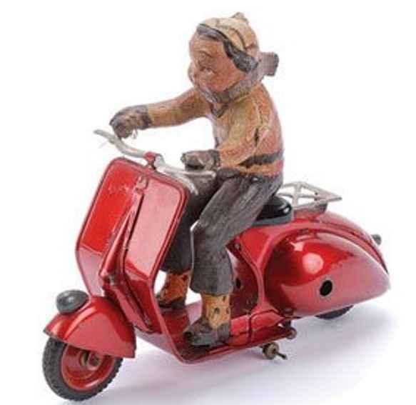 ingap 809 tin toy scooter with clockwork metallic red