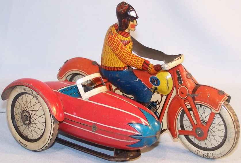 j.m.l. co blech spielzeug motorradfahrer mit torpedo-seitenwagen rot
