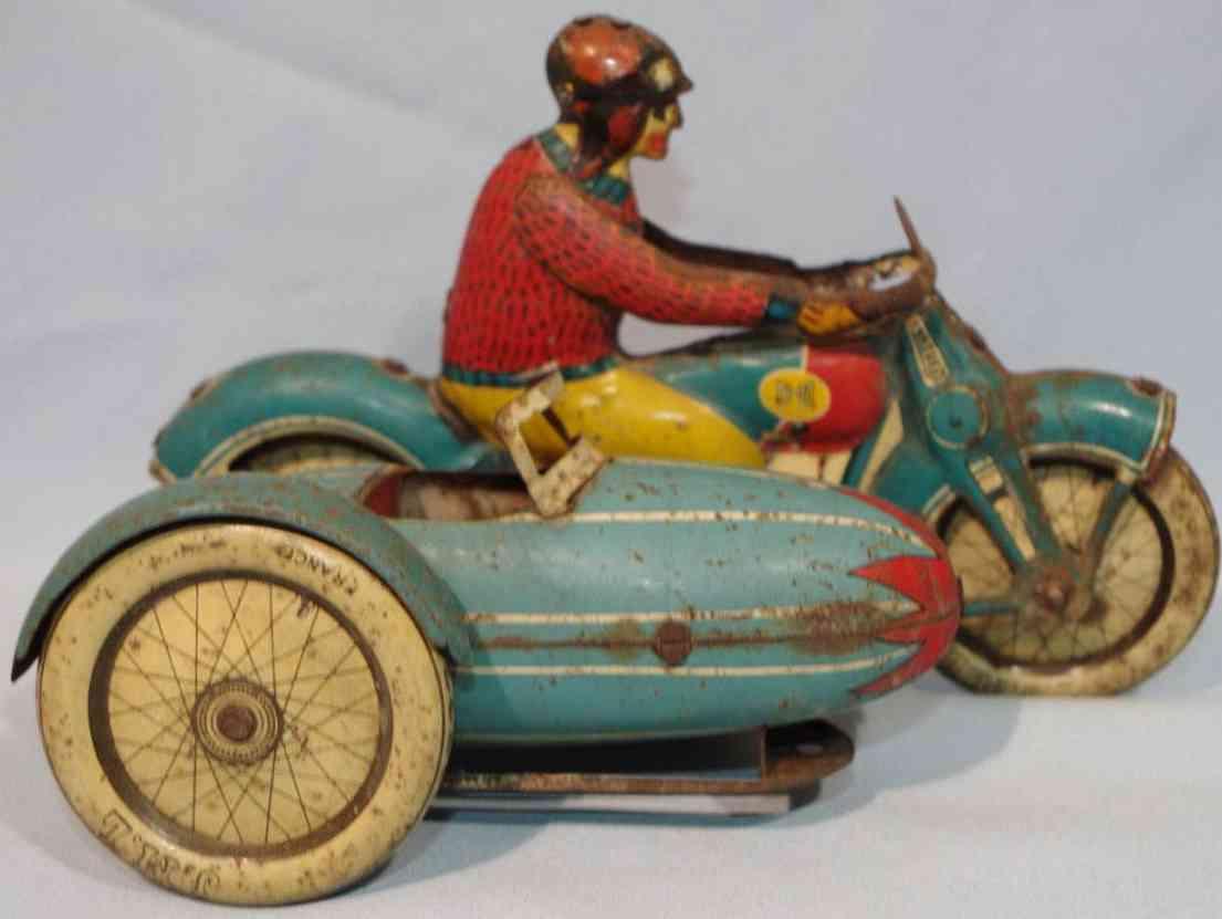 j.m.l. co blech spielzeug motorrad mit torpedo beiwagen