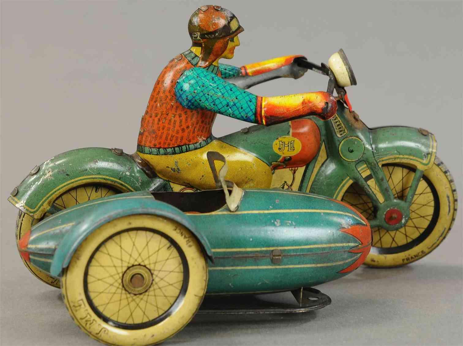 j.m.l. co blech spielzeug motorrad mit torpedo beiwagen uhrwerk