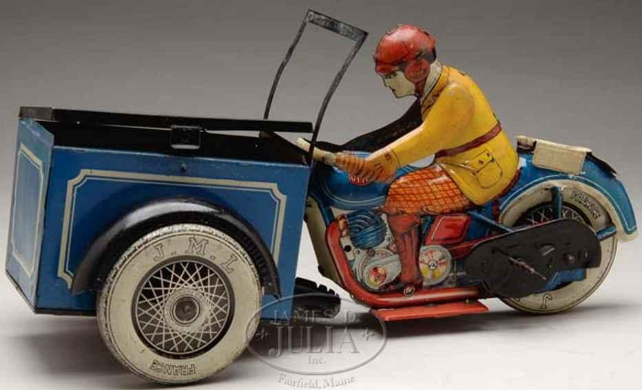 j.m.l. co blech spielzeug transport-motorrad mit uhrwerk