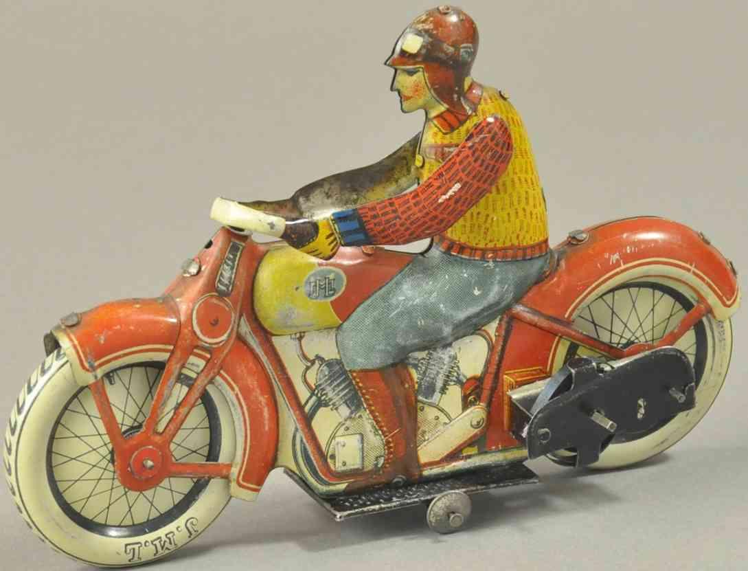 j.m.l. co blech spielzeug ziviler motorradfahrer uhrwerk