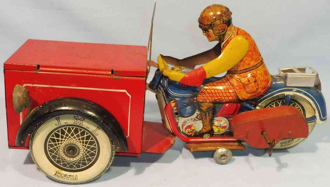 j.m.l. co  blech spielzeug lastenmotorrad  fahrer rot