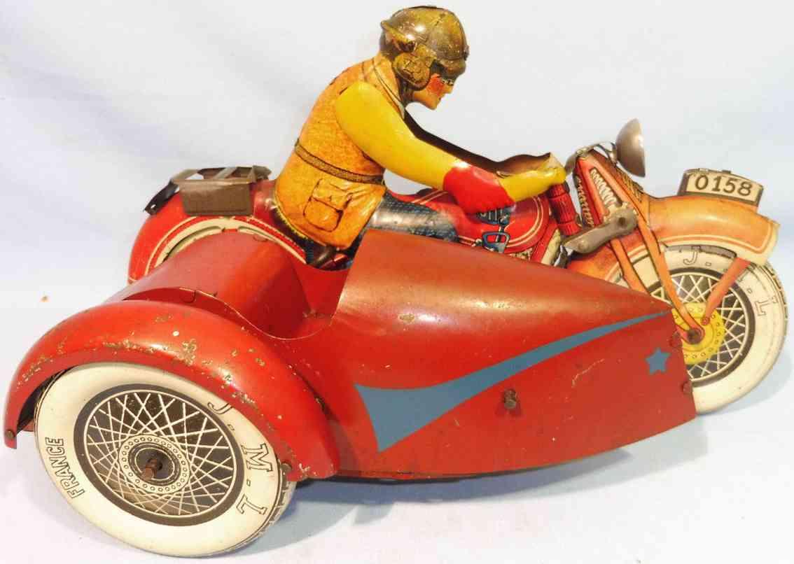 j.m.l. co blech spielzeug motorrad beiwagen uhrwerk