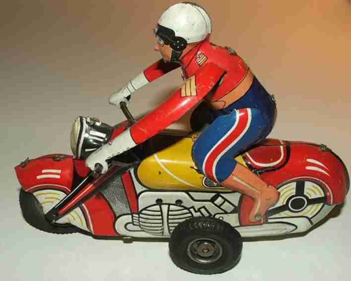 joustra tin toy motorcycle police motorcycle flic with flywheel drive