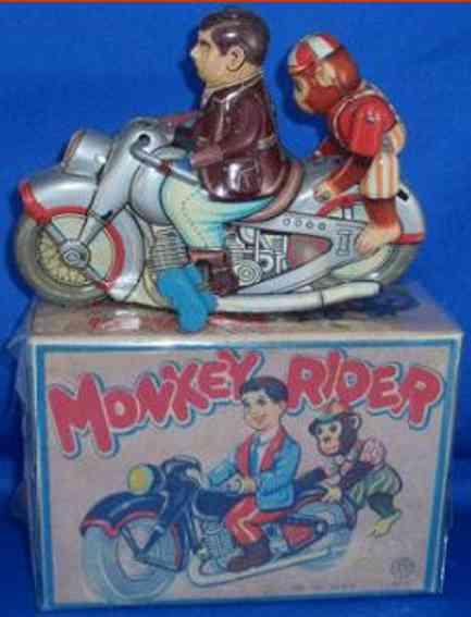 Kanto Motorradfahrer mit Affe und Friktionsantrieb