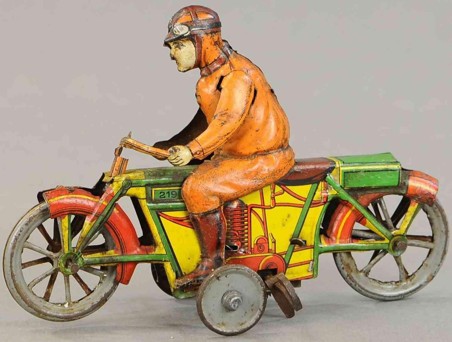 kellermann 219n blech spielzeug kunst-motorradfahrer mit uhrwerk