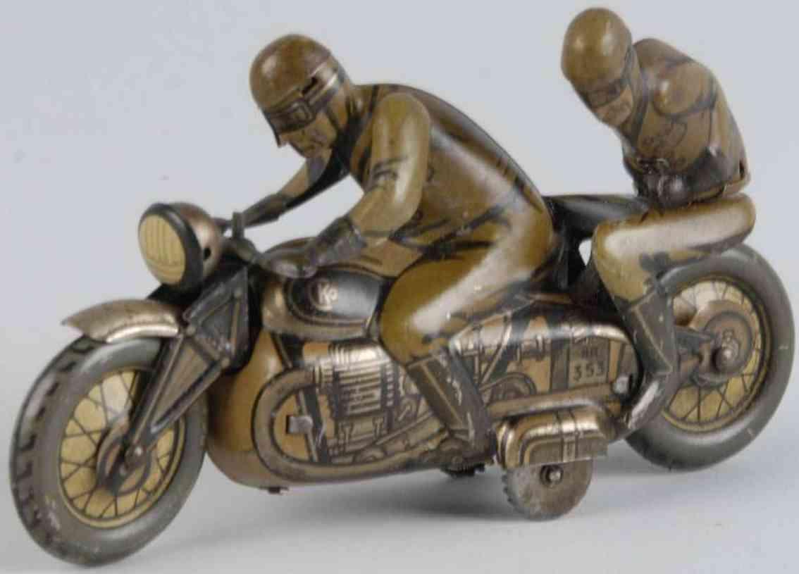 kellermann 353 blech spielzeug motorrad sozius beifahrer uhrwerk