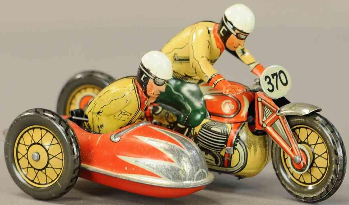 kellermann 370 tin toy motorcycle with side-car clockwork tourist