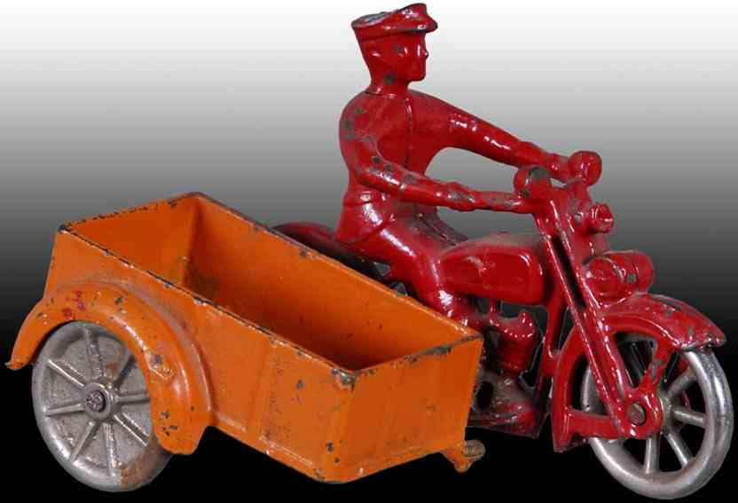 kilgore tin toy motorcycle cast iron  motorcycle with sidecar nickel wheels