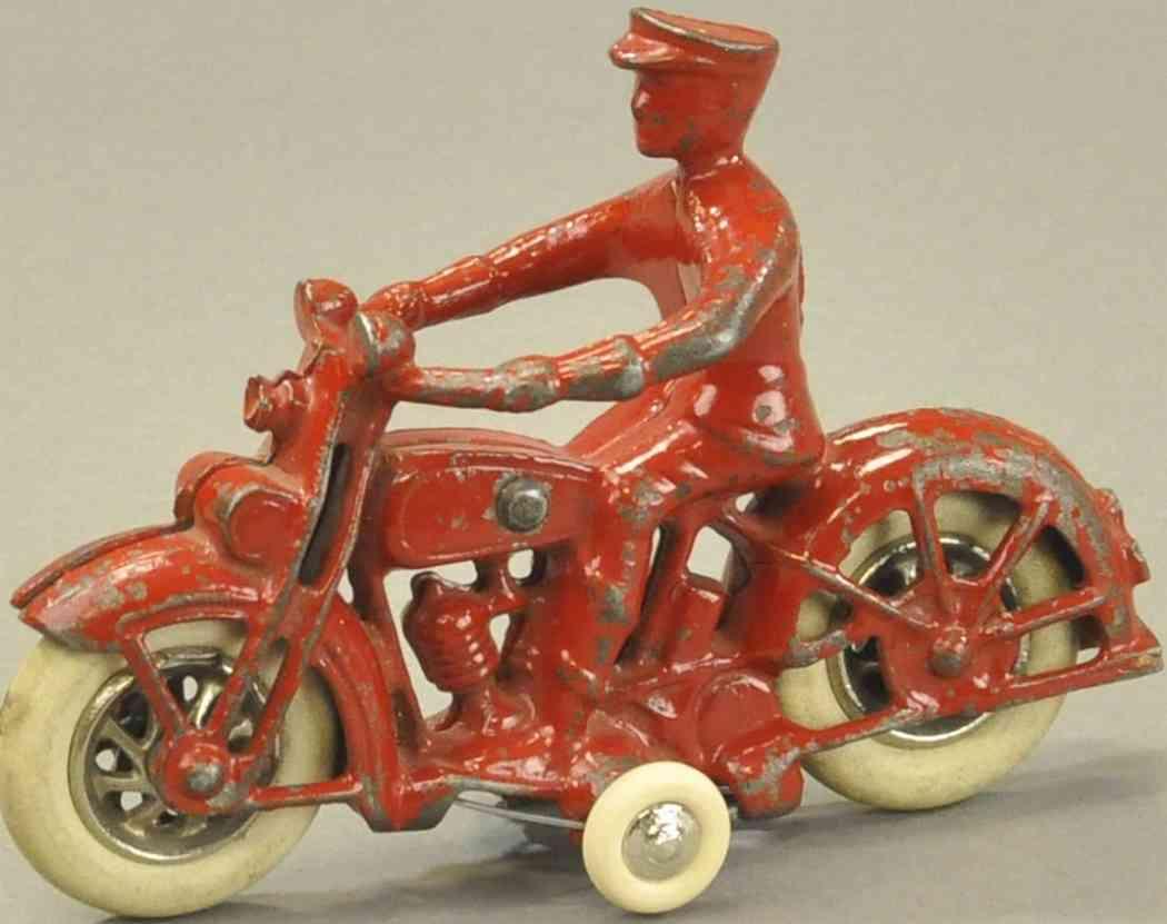 kilgore spielzeug gusseisen motorradfahrer mit polizist rot