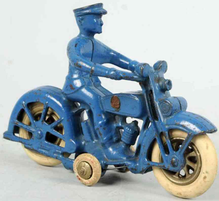 kilgore cast iron toy motorcycle in blue