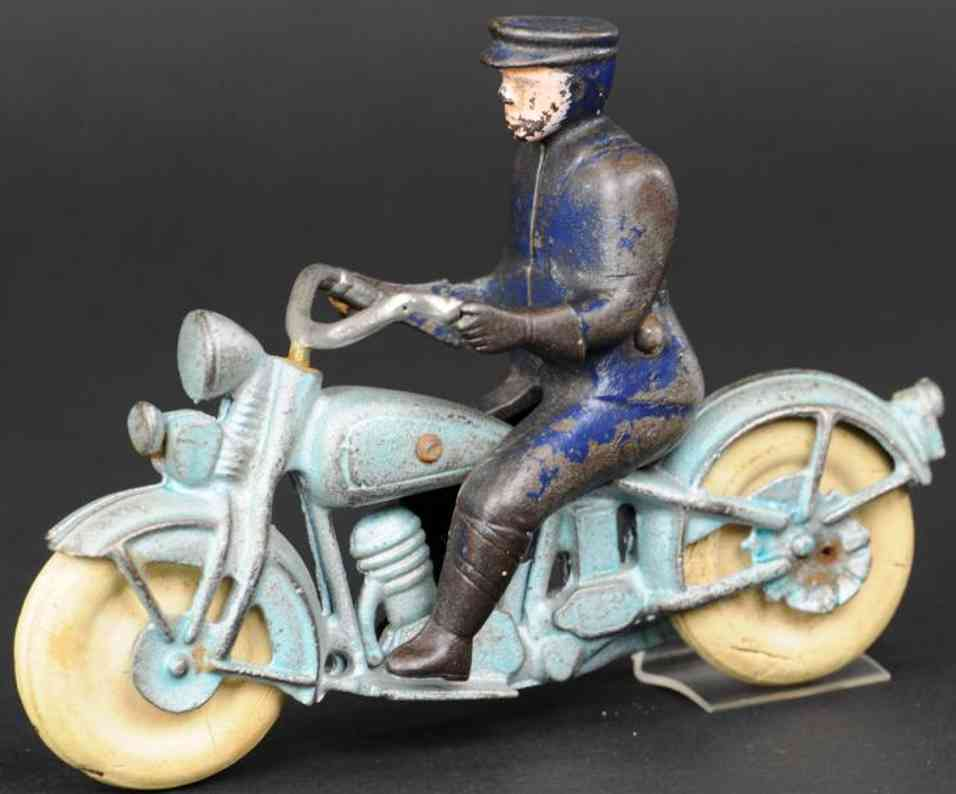kilgore spielzeug gusseisen motorradfahrer blau