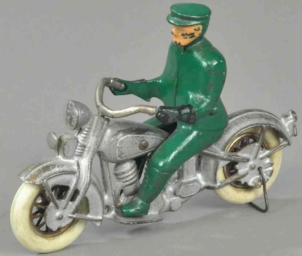 kilgore spielzeug gusseisen polizist motorrad silber gruen