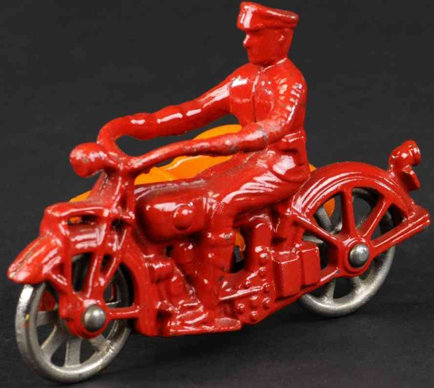 kilgore gusseisen motorrad seitenwagen rot orange