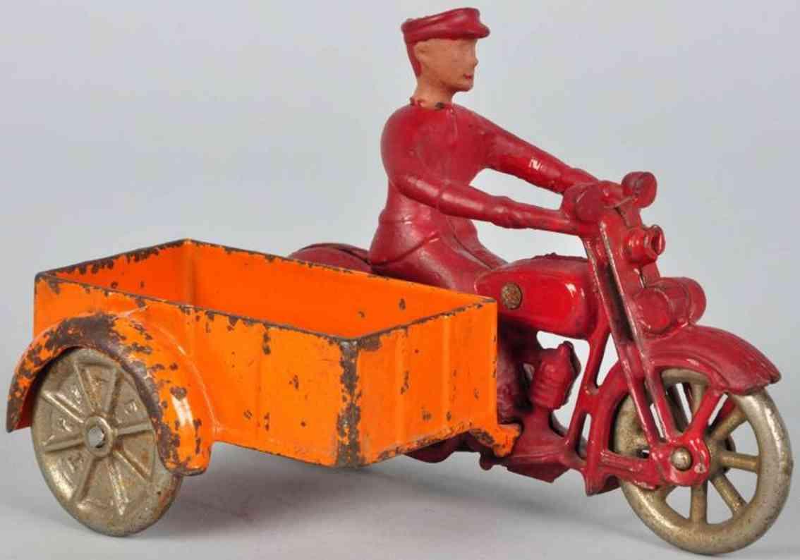 kilgore spielzeug gusseisen motorrad mit beiwagen