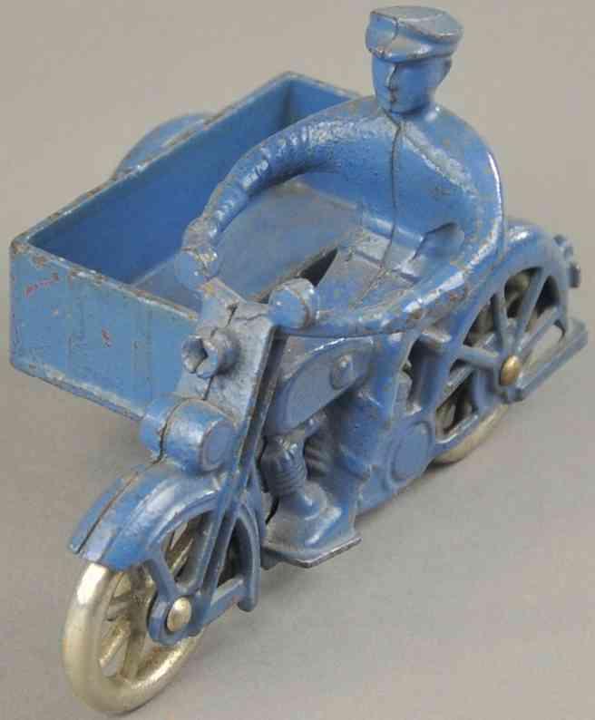 kilgore spielzeug gusseisen motorradfahrer mit beiwagen als lieferkasten