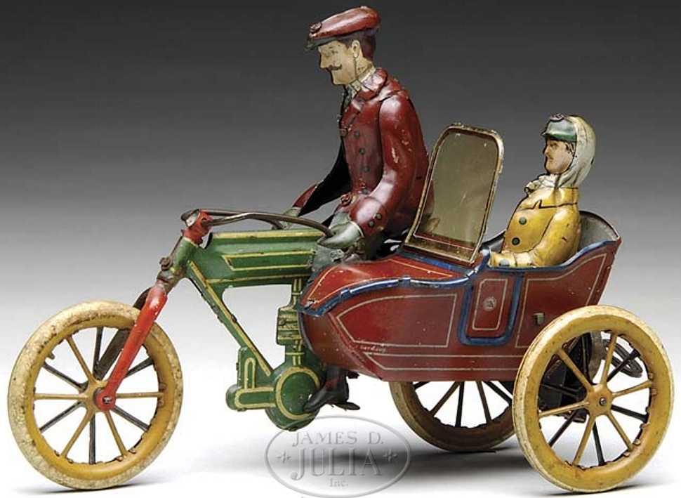 mohr & krauss blech spielzeug motorrad motorrad fahrer frau im beiwagen