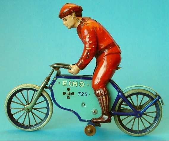 lehmann 725 blech echo motorradfahrer stuetzraeder hellblau