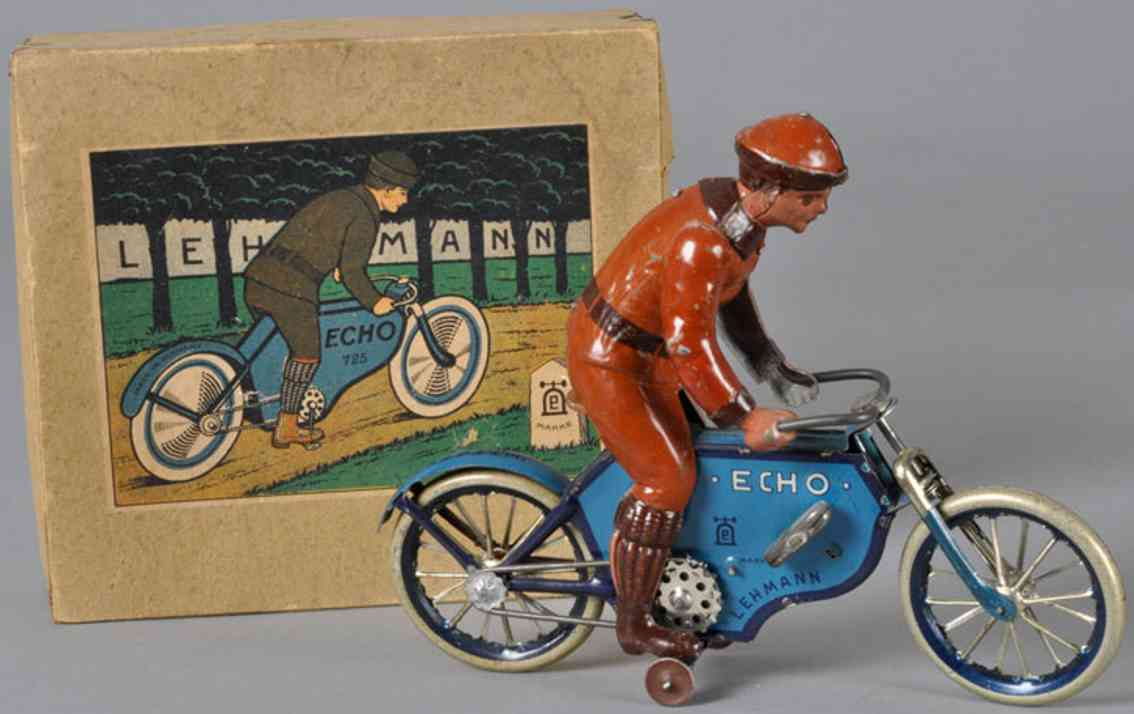 lehmann 725 tin toy echo motorcyclist depth wheels blue
