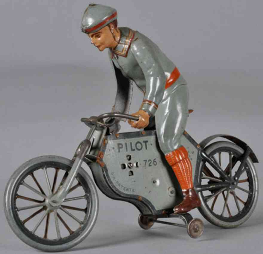 lehmann 726 pilot tin toy motorcycle motorcyclist with training wheels in gray