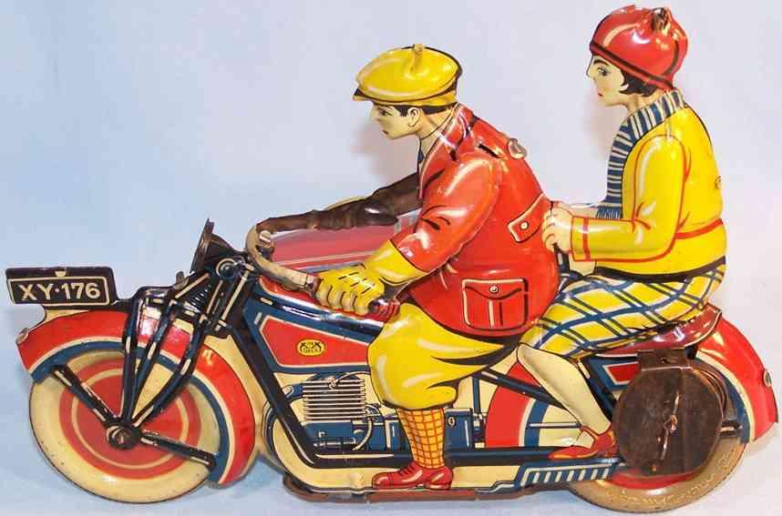 levy george gely blech spielzeug motorrad beiwagen uhrwerk xy 176 rot gelb blau
