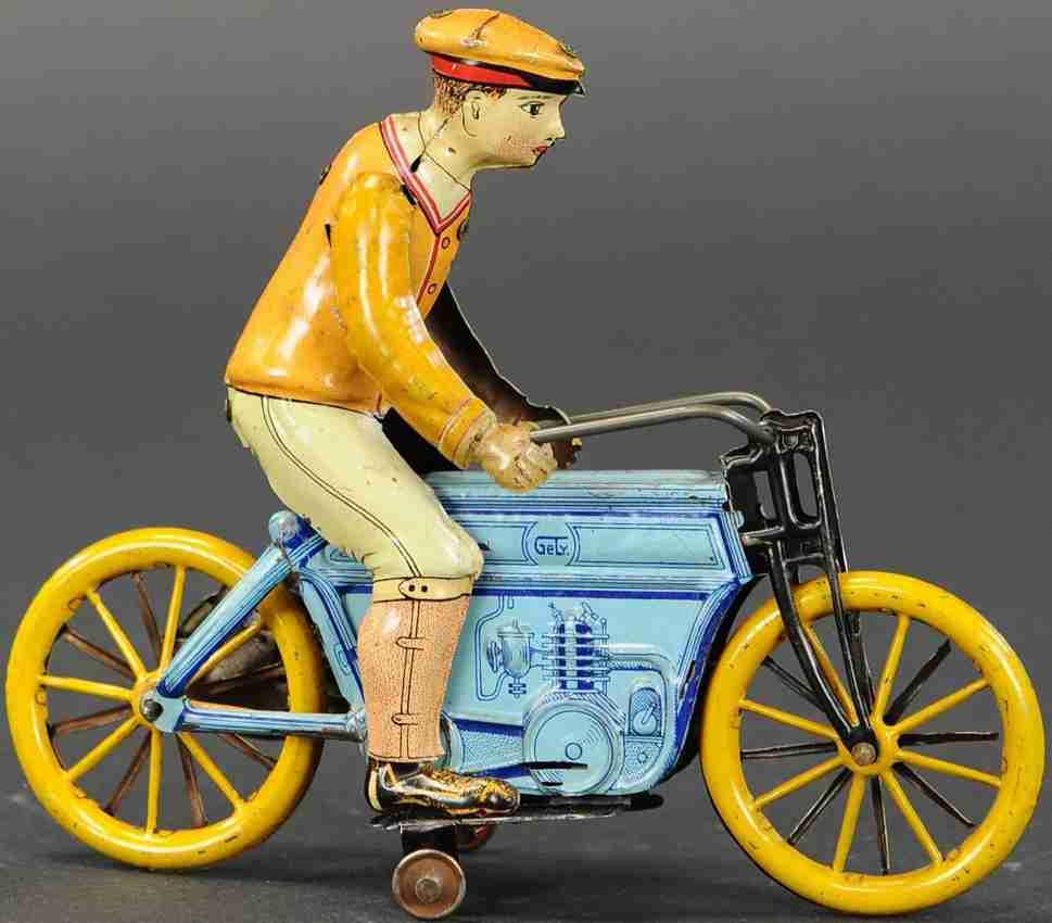 levy george gely  blech spielzeug motorradfahrer blau orange uhrwerk