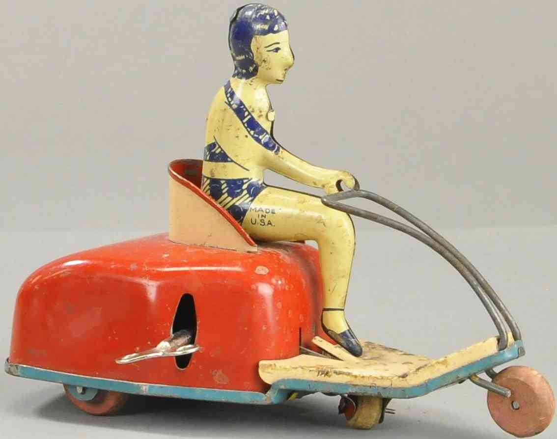 lindstrom tin toy motorcycle woman in scooter