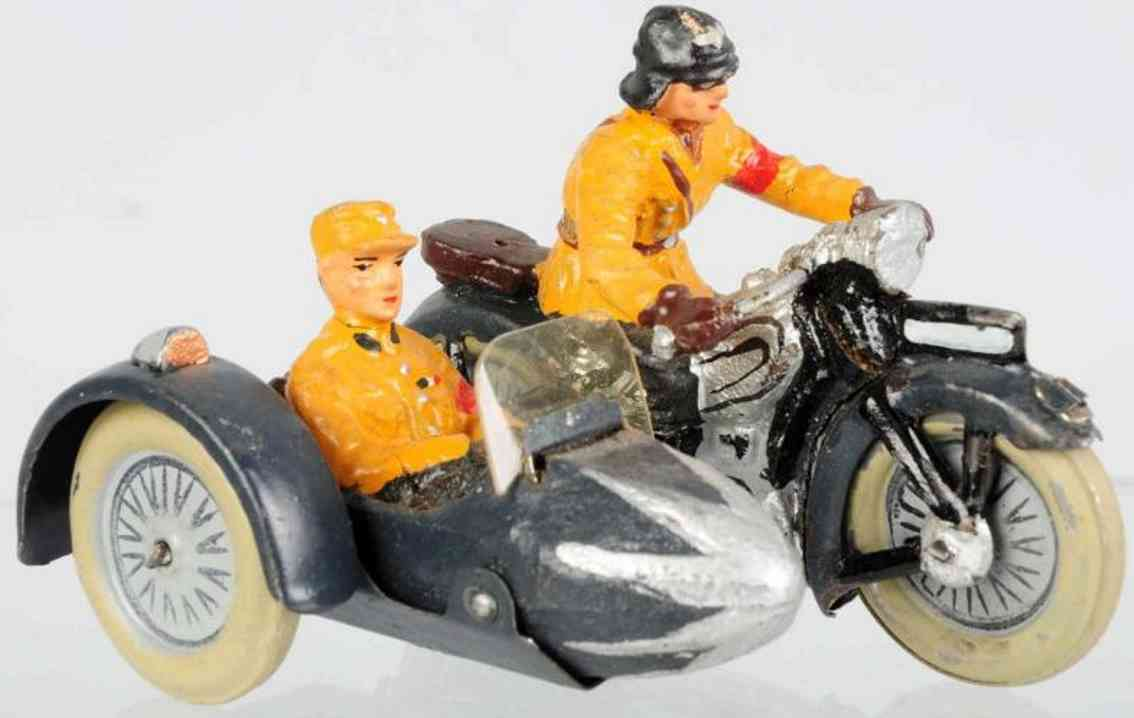 lineol toy military sa motorycycle with sidecar