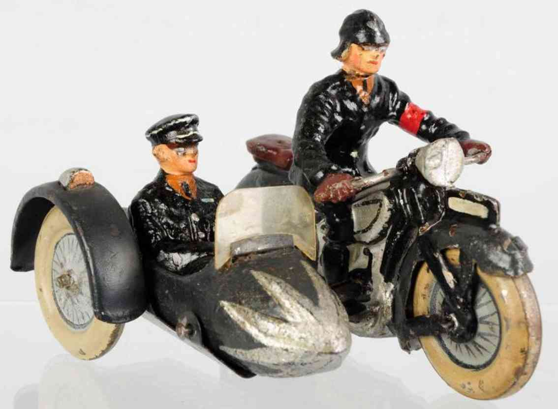 lineol toy military ss motorcycle with sidecar and two figures