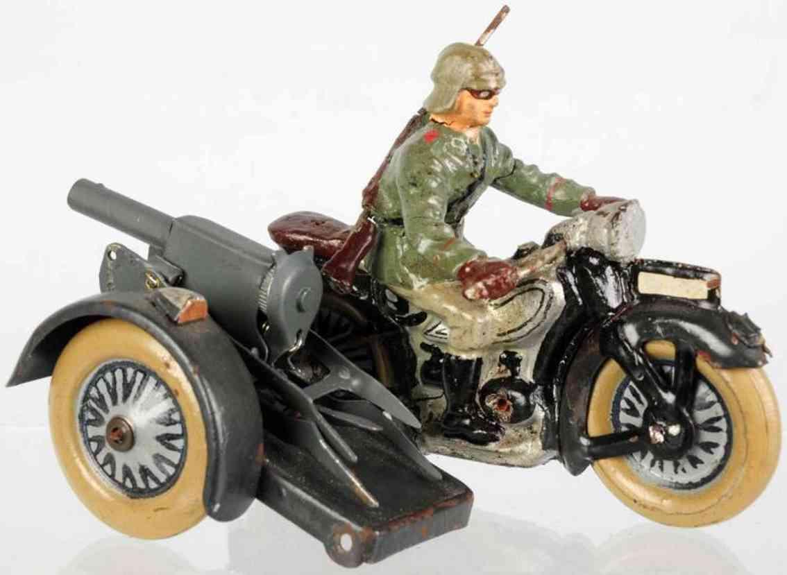 lineol spielzeug militaermotorradfahrer mit beiwagen und maschinengewehr
