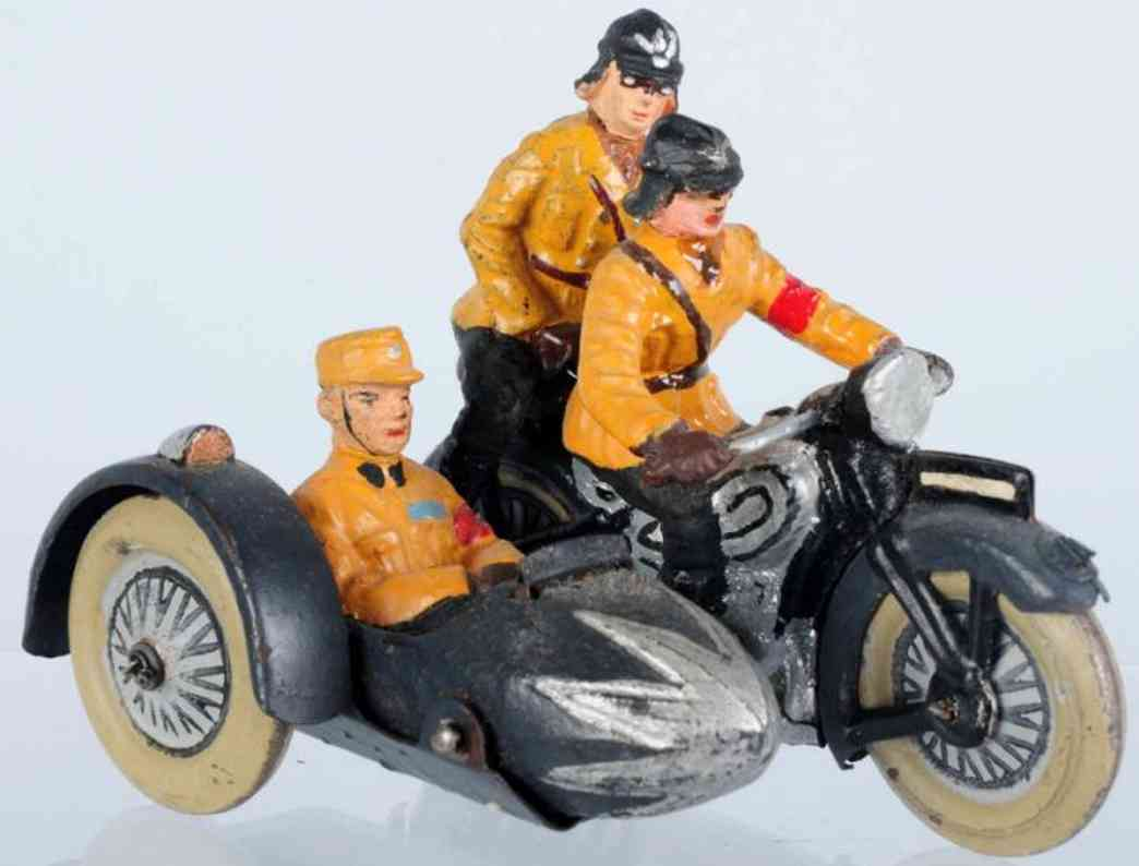 lineol military toy sa motorcycle with sidecar three figures