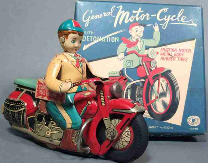 MT Modern Toy of Japan Motorcycle MT Modern Toy of Japan Motorcycles friction driven General Motor-Cycle with DETONATION
