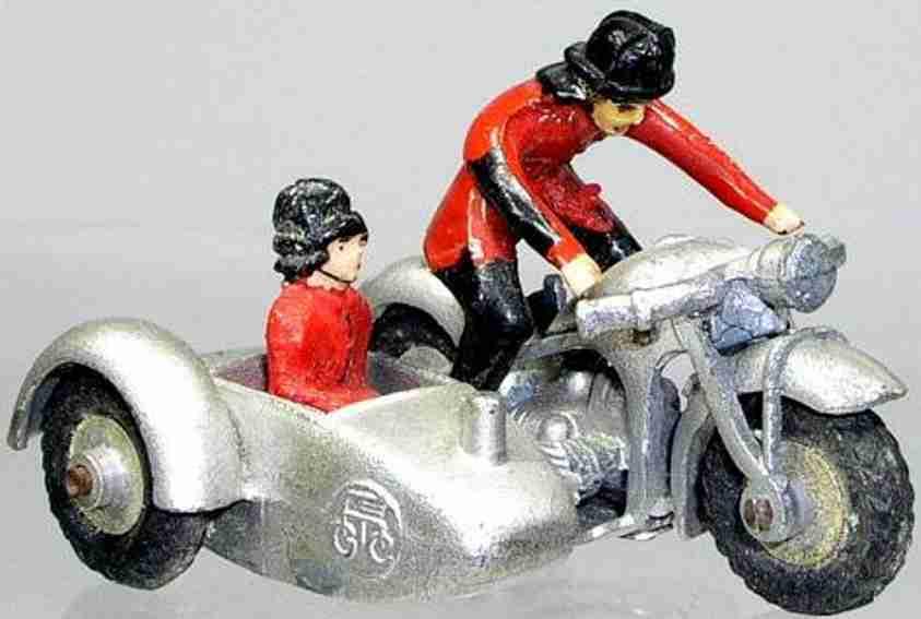 maerklin blech spielzeug motorrad zivil-motorrad mit beiwagen, fahrer und beifahrer, mit zink