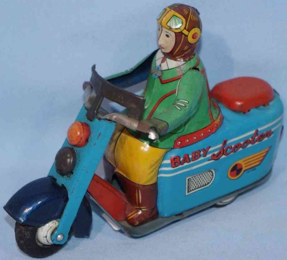 marusan shoten tin toy motorcycle baby scooter a-357  flywheel drive