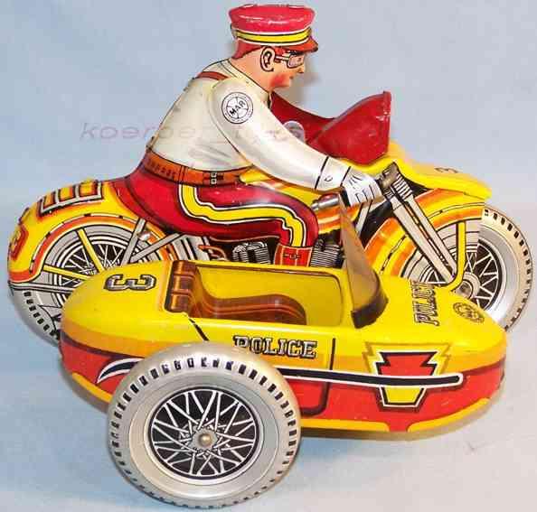 marx louis 102 d polizei-beiwagenmotorrad in gelb rot silber