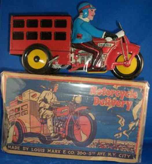 marx louis tin toy speed boy delivery cycle