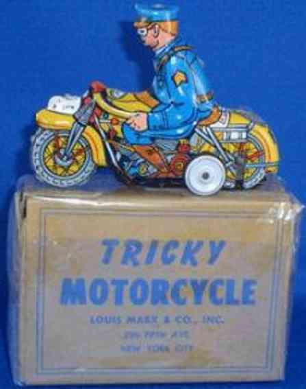 marx louis blech spielzeug polizeimotorradfahrr trick-motorrad