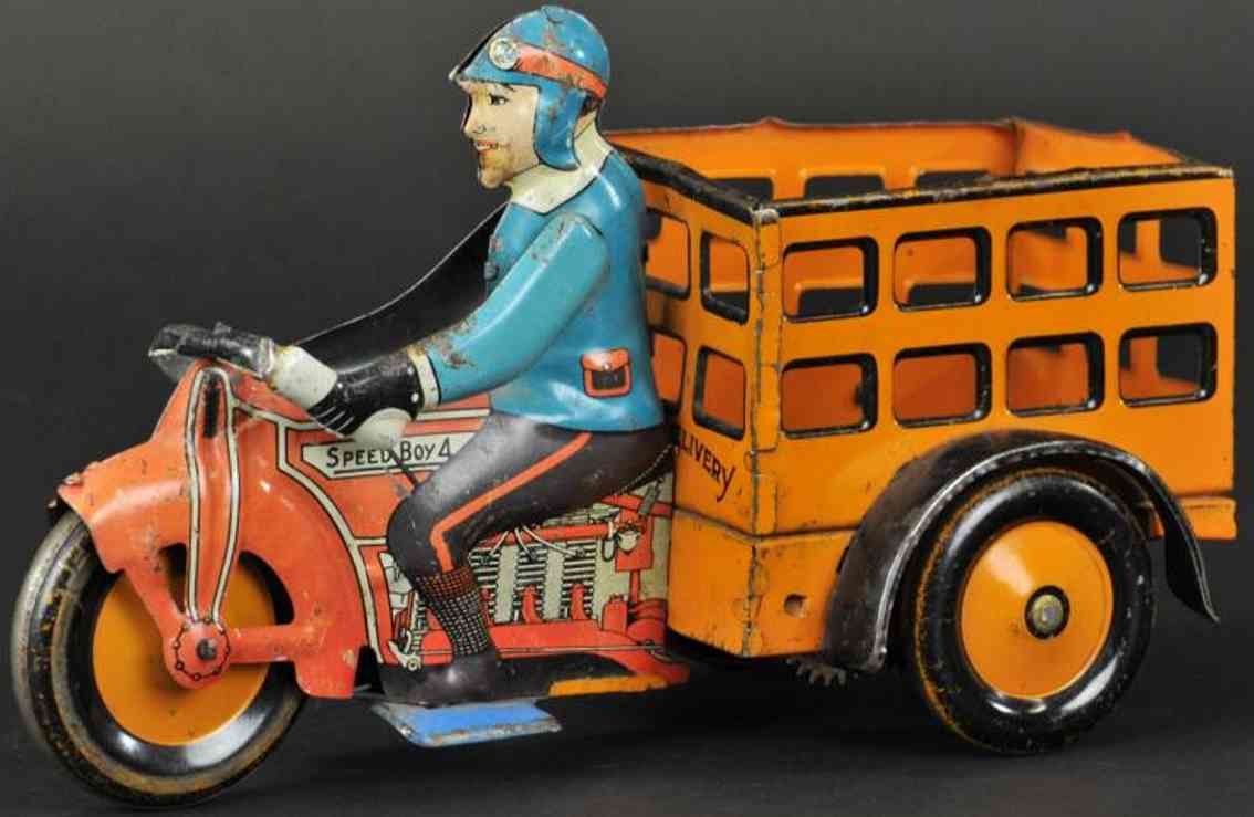 marx louis tin toy speed boy delivery motorcycle red orange blue