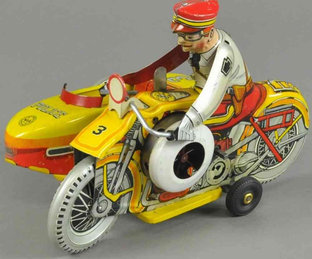 marx louis blech spielzeug polizeimotorrad seitenwagen uhrwerk sirene gelb rot weiss