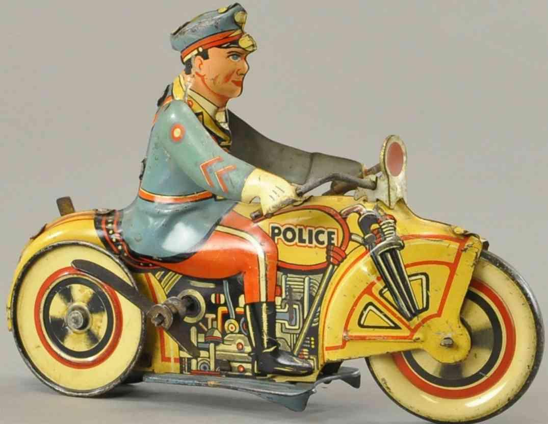marx louis blech spielzeug umkehr polizei motorradfahrer uhrwerk