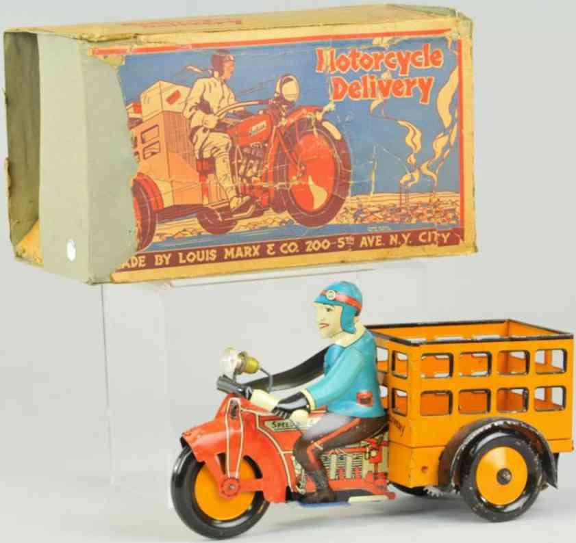 marx louis blech spielzeug motorrad-lieferwagen