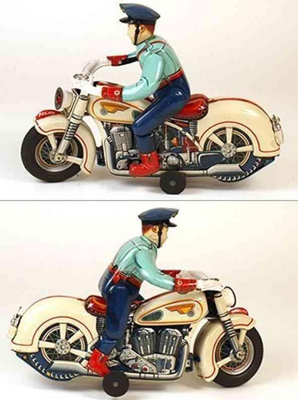 Masudaya Motorrad Autopolizist aus Blech